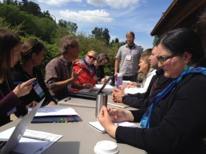 Open Space small group session of county employees, university professors, and tribal leaders talking about Dr. Mote's talk and how sea level rise will affect them in their places of work