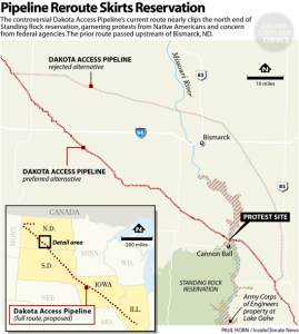 A map of the proposed Dakota Access Pipeline. Courtesy Paul Horn, Inside-Climate-News