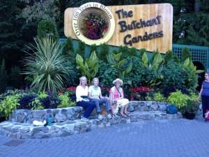 Ann and Christina and Ann's sister, Susie, visiting British Columbia's famous Butchart Gardens
