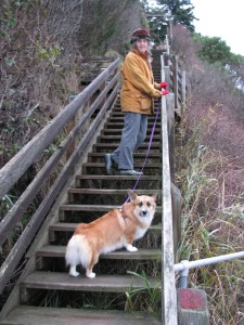 Gracie and me on beach stairs