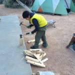Jaden splitting wood