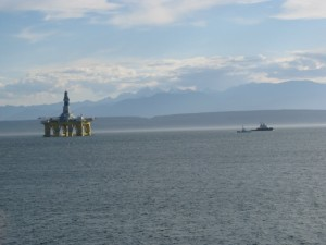 Shell Drilling Rig Being Towed By My Home