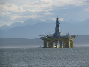 Shell Drilling Rig silhouetted against Olympic Peninsula