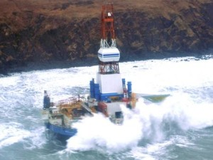 Shell's Kulluk Drilling Rig washed ashore in a storm (Reuters News Service)