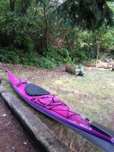 My kayak in the backyard