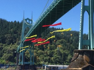 Climbers dangling from the Portland bridge, photo KGW news