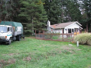 Arborists truck and our home