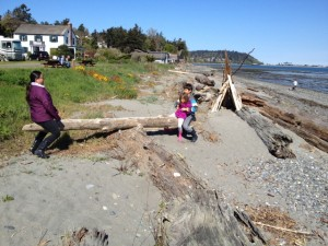 A beach teeter totter is an easy construction
