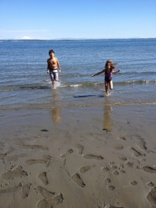 Jaden and Sasha braving chilly spring Puget Sound waters