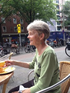 Ann having tea in downtown Amersterdam
