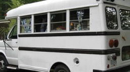 Small, converted school bus like the one that offered us shelter, Pinterest photo